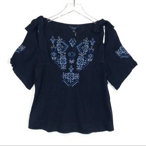 NWT Lucky Brand Embroidered Tie Shoulder Blouse S